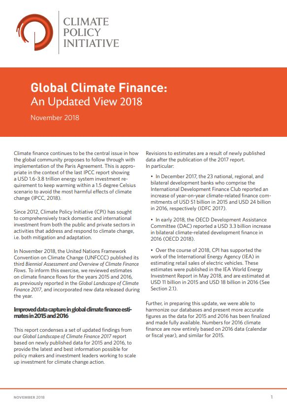 Global Climate Finance: An Updated View 2018