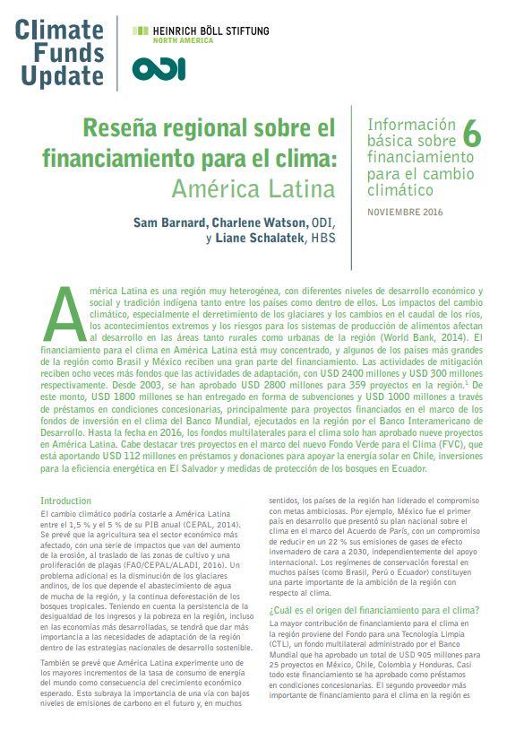 Reseña regional sobre el financiamiento para el clima: América Latina