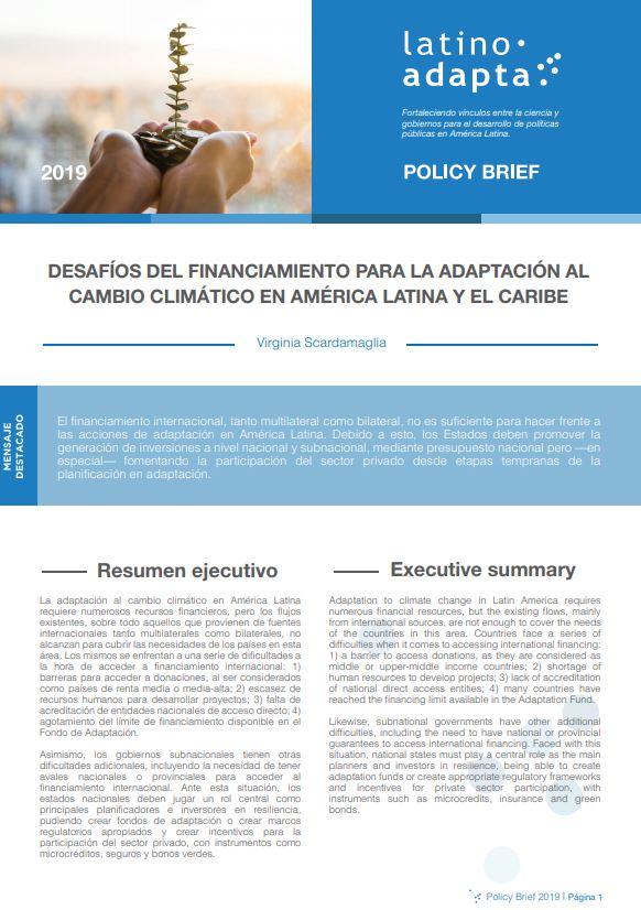 Desafíos del financiamiento para la adaptación al cambio climático en América Latina y el Caribe