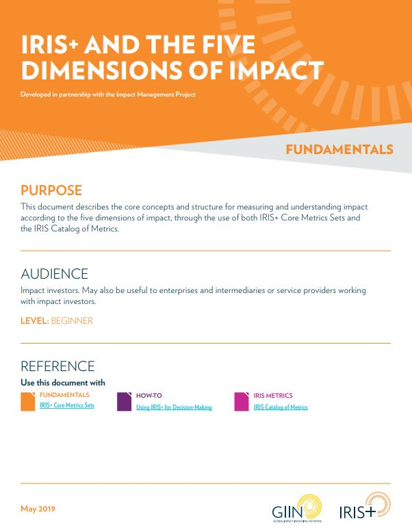 IRIS+ AND THE FIVE DIMENSIONS OF IMPACT