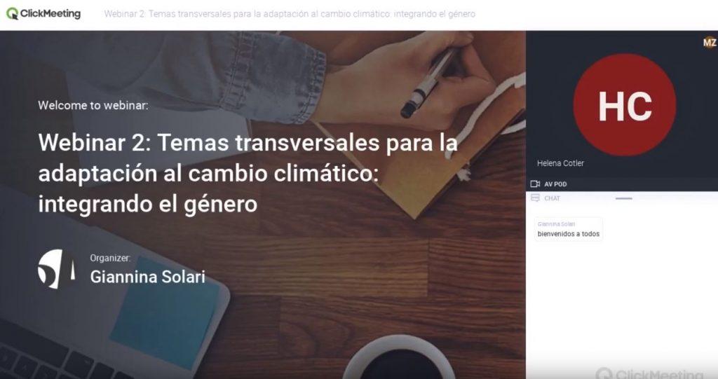 Webinar 2: Temas transversales para la adaptación al cambio climático